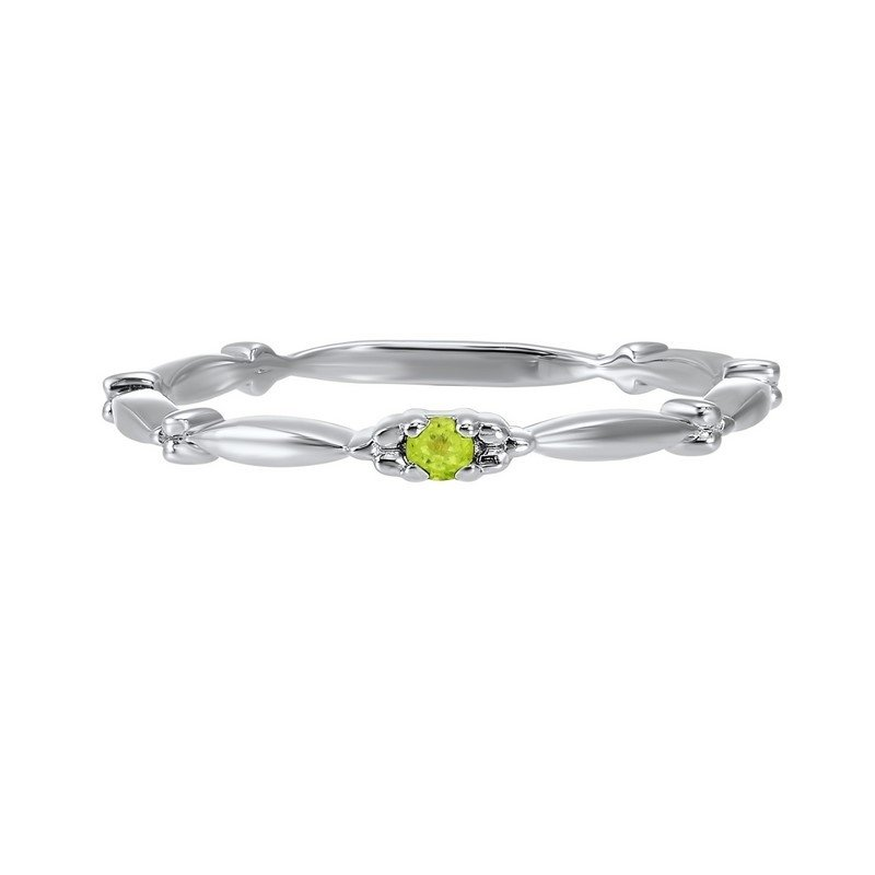 Gems One Peridot Solitaire Antique Style Slender Stackable Band in 10k White Gold