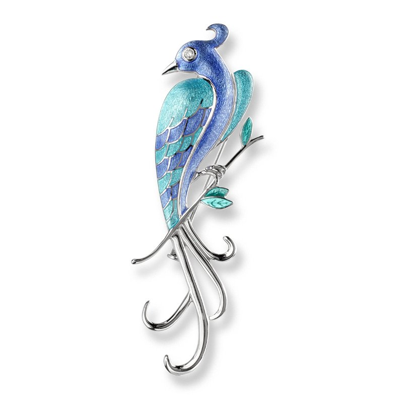 Nicole Barr Designs Blue Lyre Bird Brooch-Pendant.Sterling Silver-White Sapphires