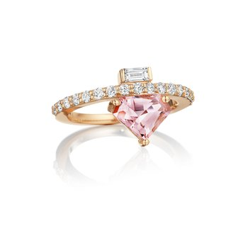 Morganite Shield Ring