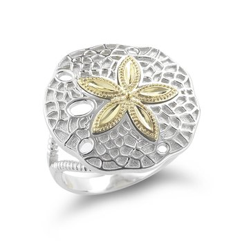 "Sterling Silver and 14K Yellow Gold Sand Dollar Starfish Ring 3/4"" wide on top"