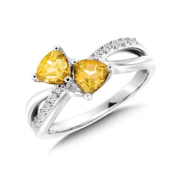 Trillion-Cut  Citrine and Diamond Criss-Cross Ring