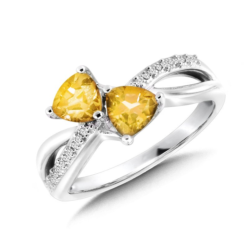 SDC Creations Trillion-Cut  Citrine and Diamond Criss-Cross Ring