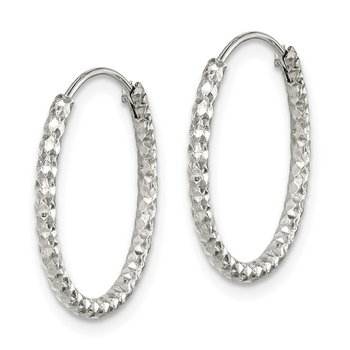 Sterling Silver Diamond Cut 1.5x18mm Endless Hoop Earrings