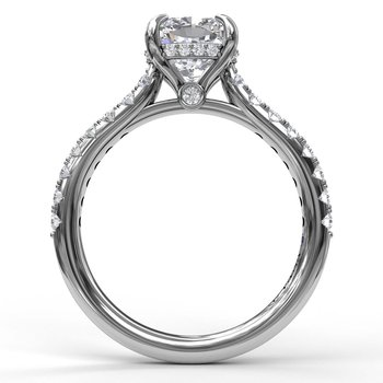 Cushion Cut Solitaire With Hidden Halo