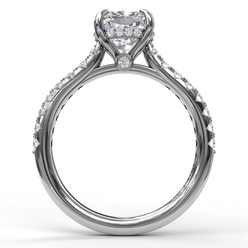 Fana Cushion Cut Solitaire With Hidden Halo