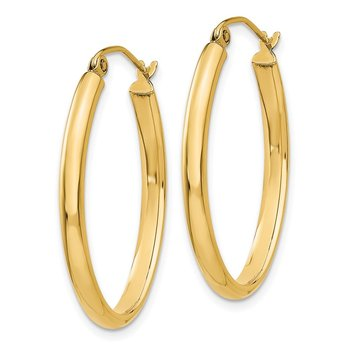 14k 3mm Oval Hoop Earrings