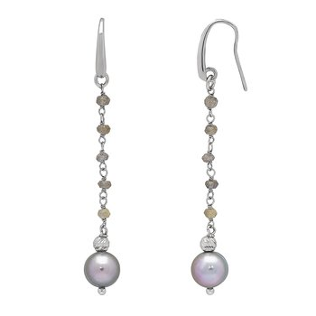 Honora Sterling Silver 8-9mm Gray Freshwater Cultured Pearls Faceted Labradorite Drop Earrings