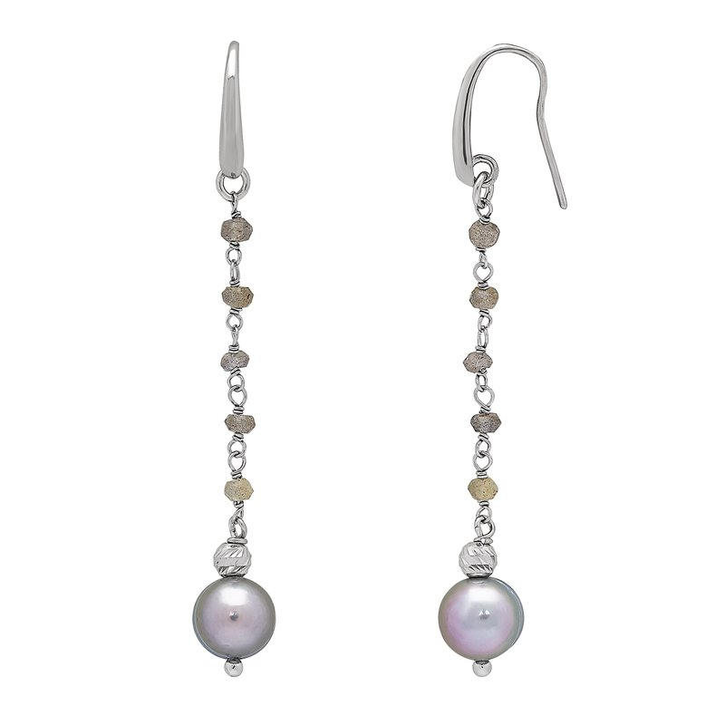 Honora Honora Sterling Silver 8-9mm Gray Freshwater Cultured Pearls Faceted Labradorite Drop Earrings