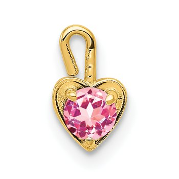 14ky October Synthetic Birthstone Heart Charm
