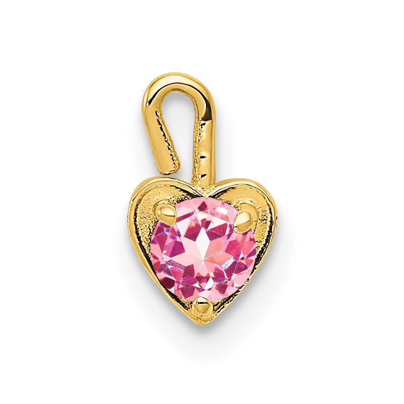 Quality Gold 14ky October Synthetic Birthstone Heart Charm