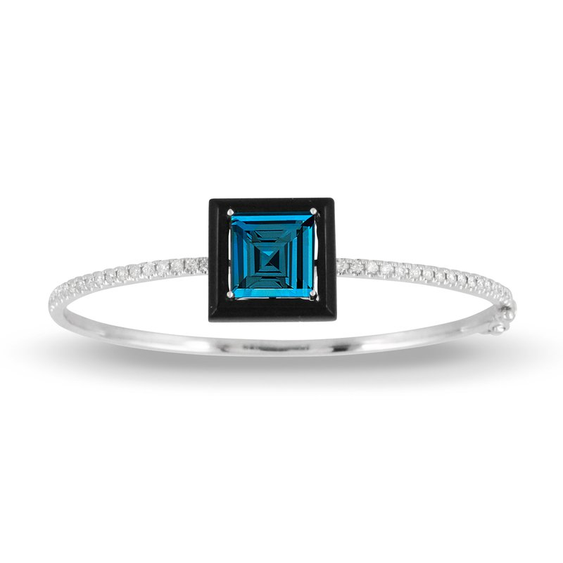 Doves London Blue Topaz Bangle 18KW