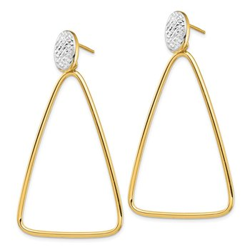 14k & Rhodium Polished & Diamond Cut Triangle Dangle Post Earrings