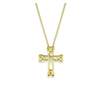 Diamond Cross Necklace in 14K Yellow Gold with 1 Diamonds Weighing .01 ct tw
