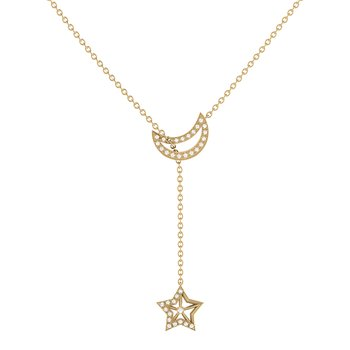 Shooting Star Necklace in 14 KT Yellow Gold Vermeil on Sterling Silver