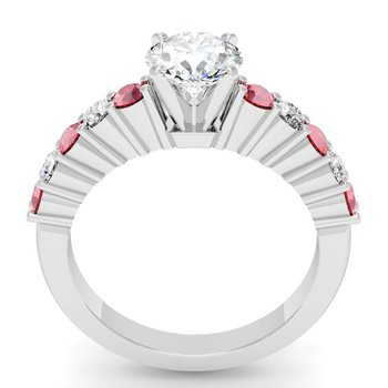 Round Diamond & Ruby Engagement Ring