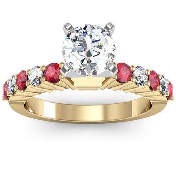 Round Diamond & Ruby Engagement Ring