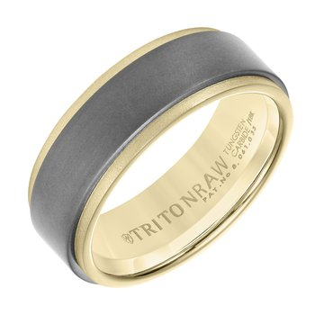 RAW GOLD 18K Yellow Gold With Matte Insert Men's Wedding Band