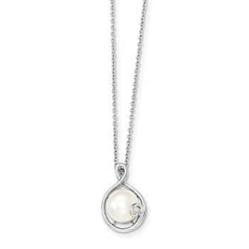 Sterling Silver Rhodium-plated 9-10mm White FWC Pearl Chain Slide