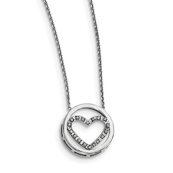 Sterling Silver Diamond Mystique Circle w/Heart 17in Necklace