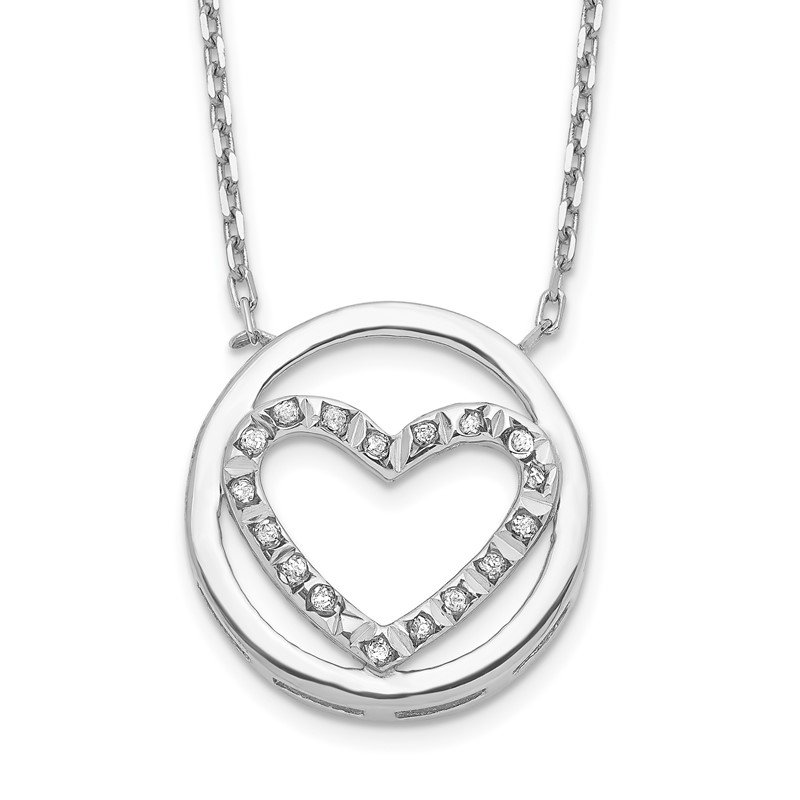 Quality Gold Sterling Silver Diamond Mystique Circle w/Heart 17in Necklace