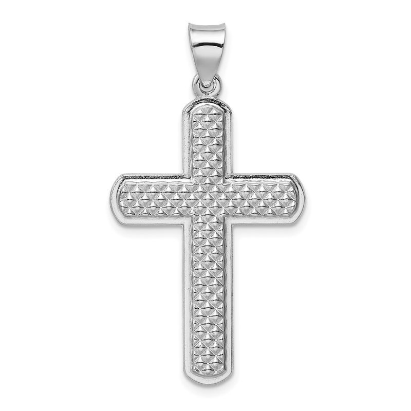 Quality Gold Sterling Silver Rhodium-plated Textured & Polished Cross Pendant