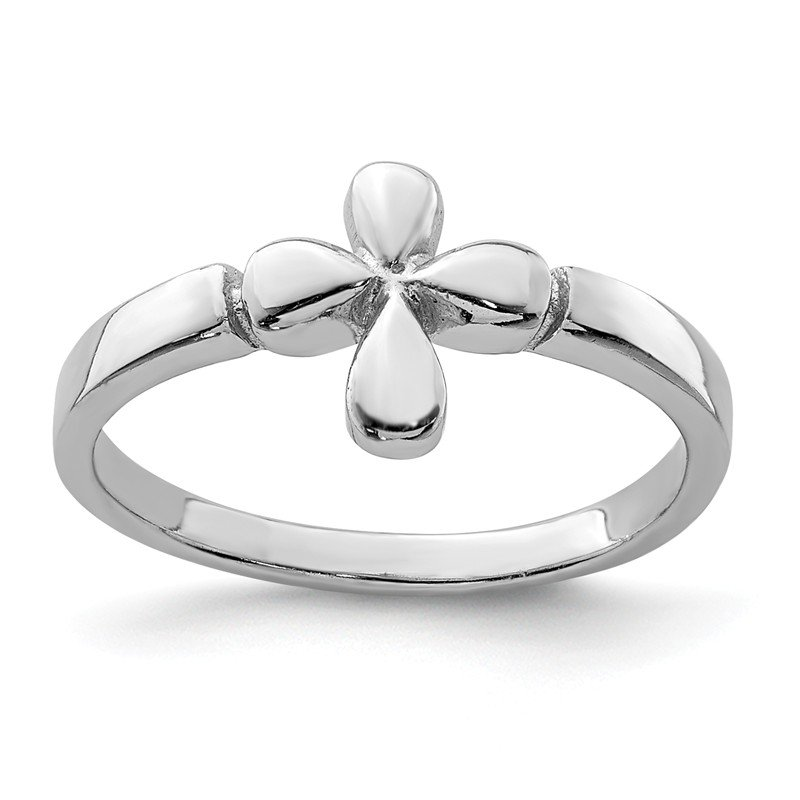 Quality Gold Sterling Silver RH Plated Child's Polished Cross Ring