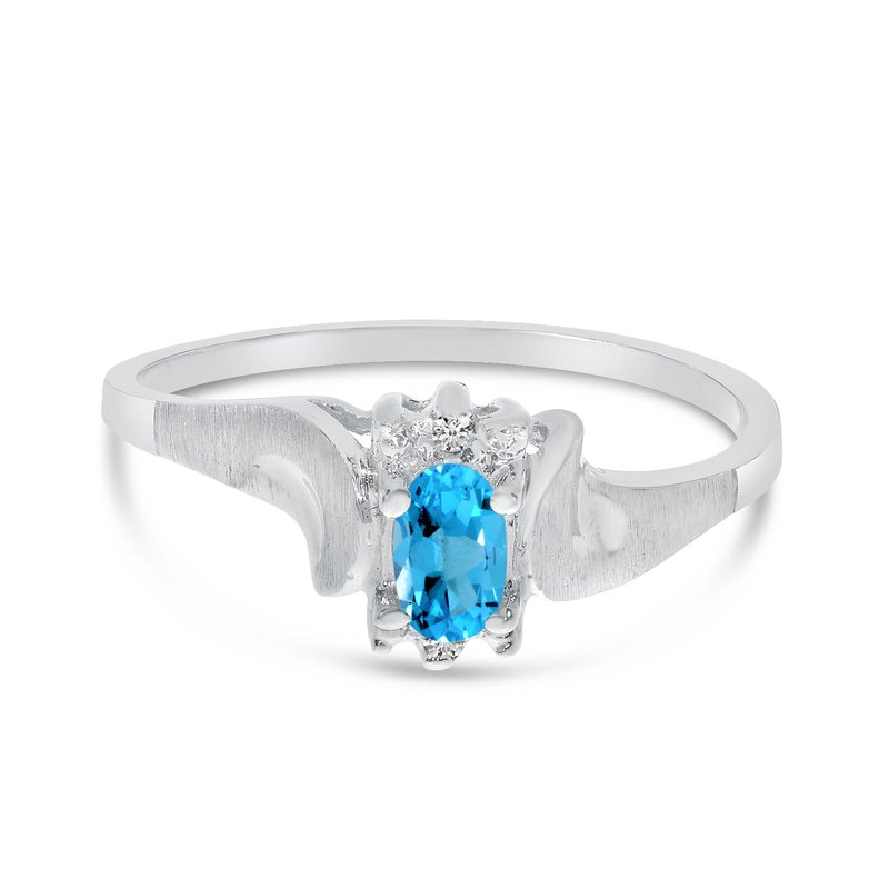 Color Merchants 14k White Gold Oval Blue Topaz And Diamond Satin Finish Ring