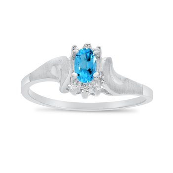 14k White Gold Oval Blue Topaz And Diamond Satin Finish Ring