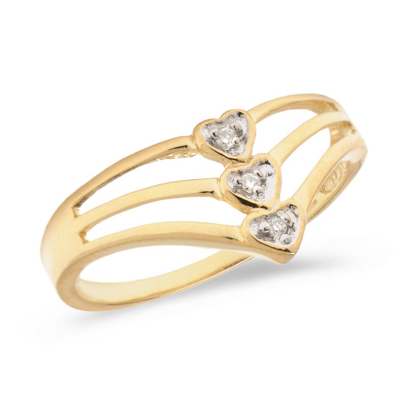 Color Merchants 10K Yellow Gold Diamond Heart Ring
