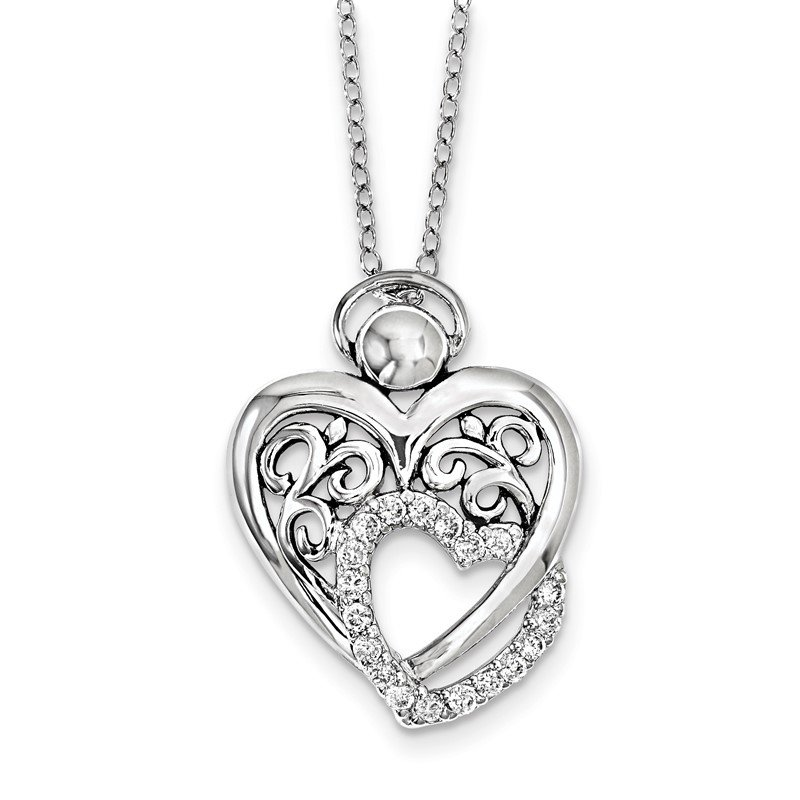 Quality Gold Sterling Silver CZ Angel Of Marriage 18in. Necklace
