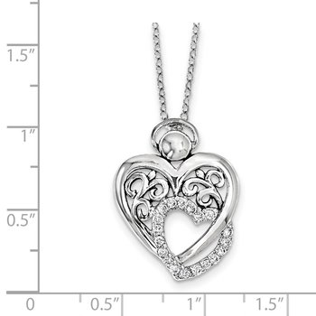Sterling Silver CZ Angel Of Marriage 18in. Necklace