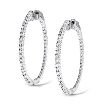 Diamond Inside Outside Hoop Earrings in 14k White Gold with 94 Diamonds weighing 1.10ct tw.