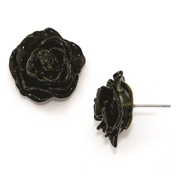 Lacquer Dipped Black Rose Silver-tone Earrings