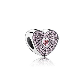 Sweetheart Charm, Fancy Pink CZ