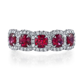Ruby & Diamond 5-Stone Band