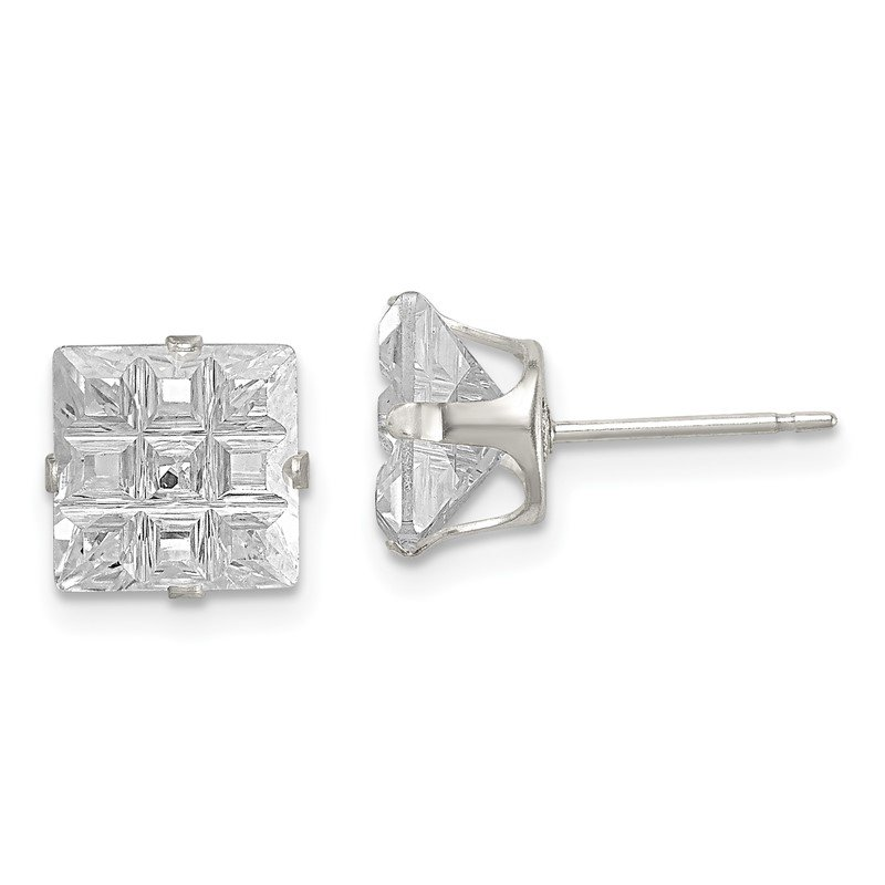 Quality Gold Sterling Silver 8mm Square Snap Set Laser-cut CZ Stud Earrings
