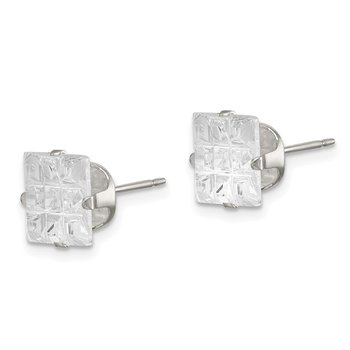 Sterling Silver 8mm Square Snap Set Laser-cut CZ Stud Earrings