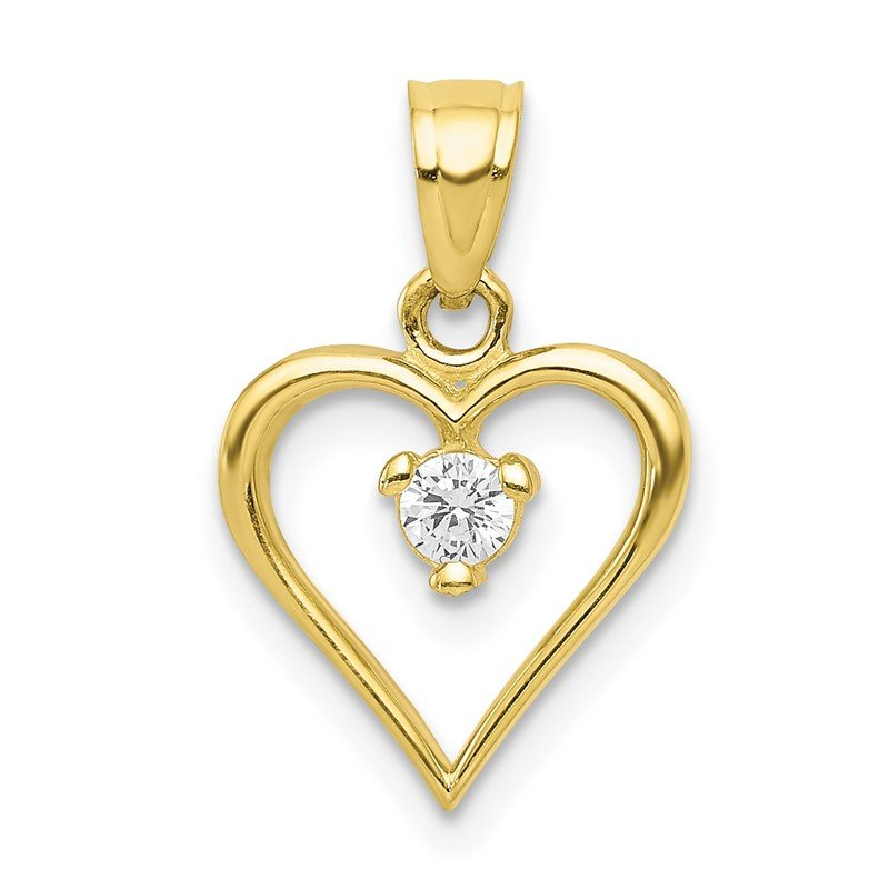 Quality Gold 10k CZ Heart Charm