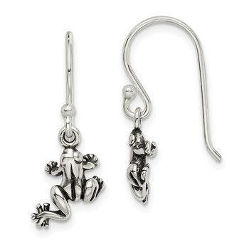 Sterling Silver and Antiqued Frog Shepherd Hook Earrings