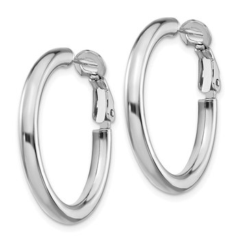 14k White Gold 3x20mm Polished Round Omega Back Hoop Earrings