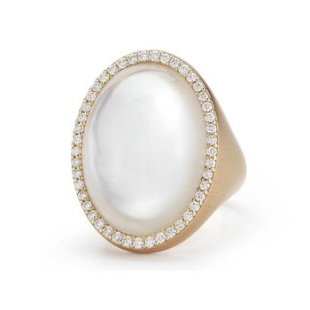 #21775 Of Ring With Diamonds, Crystal And Mother Of Pearl