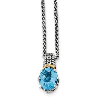 Sterling Silver w/14k Light Swiss Blue Topaz Necklace