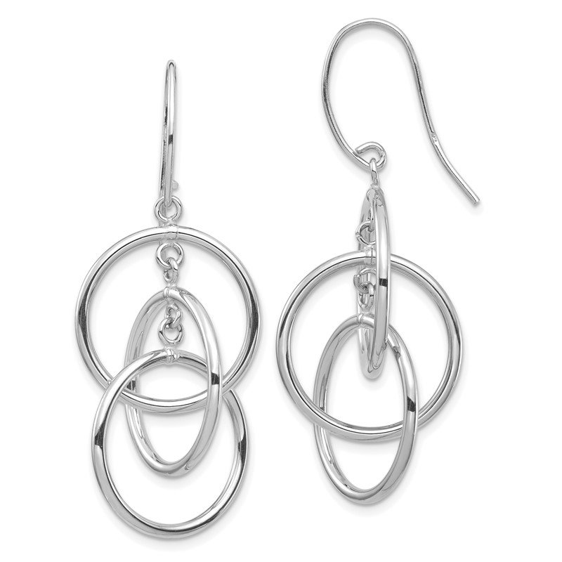 Quality Gold 14k White Gold Polished Circles Dangle Earrings