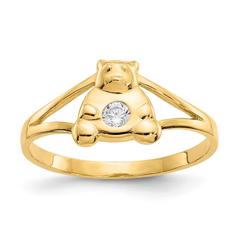 Quality Gold 14k Madi K CZ Teddy Bear Baby Ring