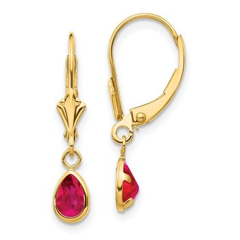 14k 6x4mm Ruby/July Leverback Earrings