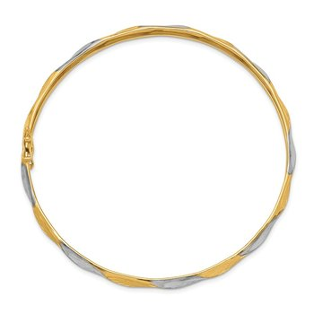 14k White Rhodium Polished Satin D/C Flexible Bangle