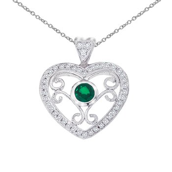 14k White Gold Heart Shaped Filigree Emerald and Diamond Pendant