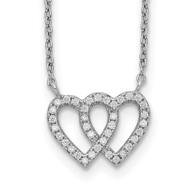 Quality Gold Sterling Silver Rhodium-plated 2-Heart CZ w/1in. Ext. Necklace