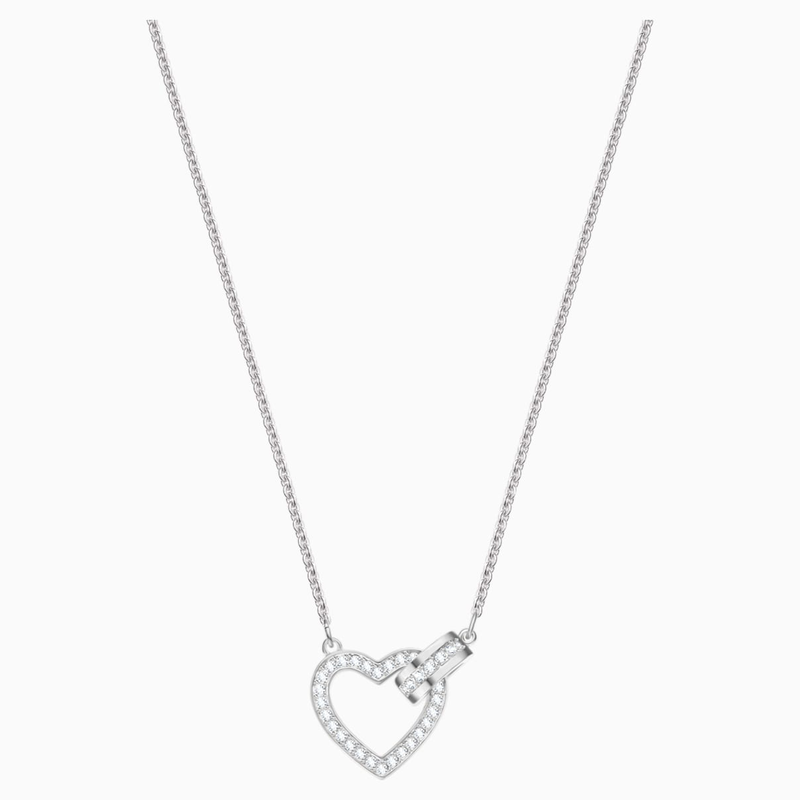 Swarovski Lovely Necklace, White, Rhodium plated