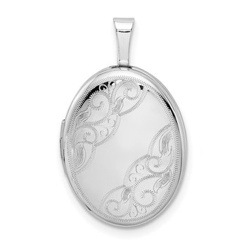 Sterling Silver Rhodium-plated Side Swirls 19mm Oval Locket